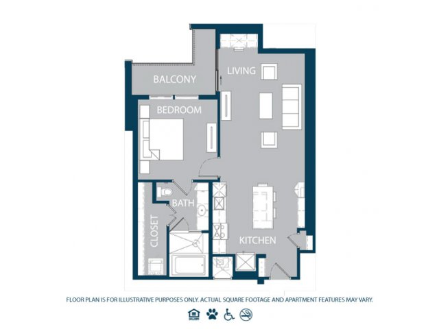 864 sq. ft. A5 floor plan