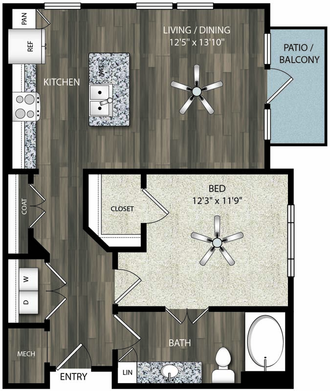 762 sq. ft. A6 floor plan