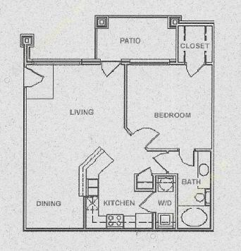 754 sq. ft. A2 floor plan
