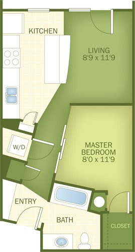 558 sq. ft. Delray floor plan