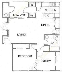780 sq. ft. A4 floor plan