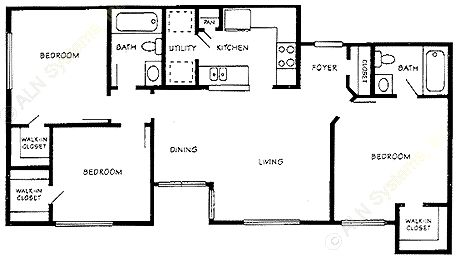 1,000 sq. ft. C1P floor plan