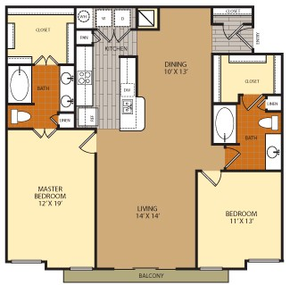 1,372 sq. ft. B4 floor plan