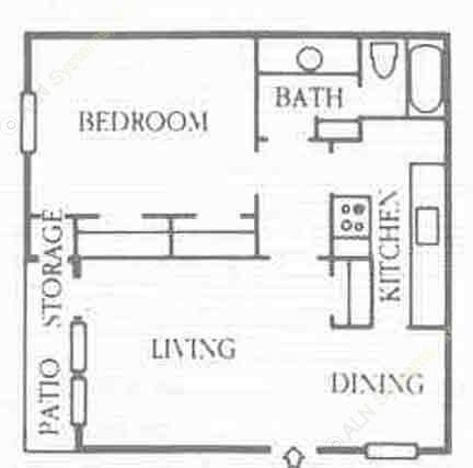 690 sq. ft. A1 floor plan