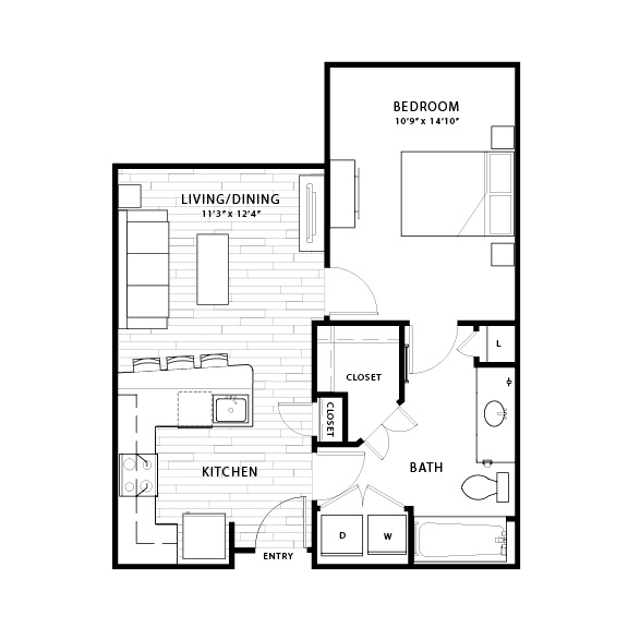 684 sq. ft. A1b floor plan