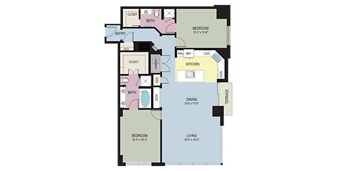1,628 sq. ft. DA floor plan