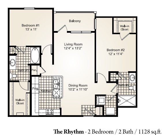 1,128 sq. ft. RHYTHM floor plan