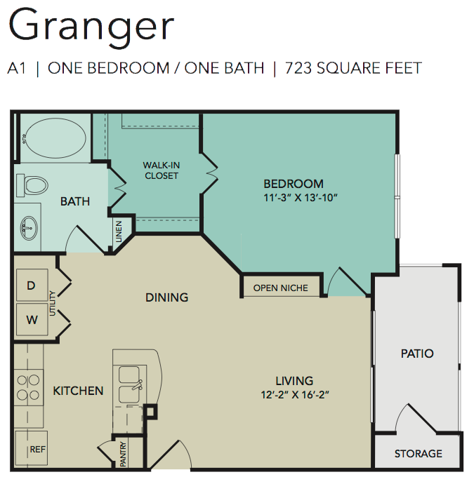 723 sq. ft. Granger floor plan