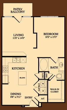 806 sq. ft. Stephen F Austin floor plan