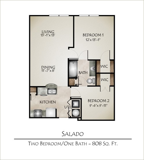 808 sq. ft. SALADO floor plan