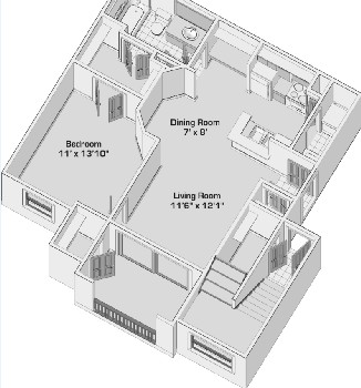 659 sq. ft. A1 PH1 floor plan