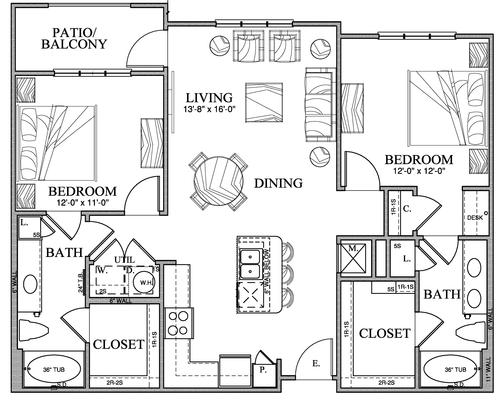 1,104 sq. ft. B2 floor plan