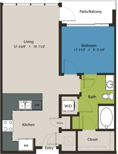 730 sq. ft. A8N floor plan