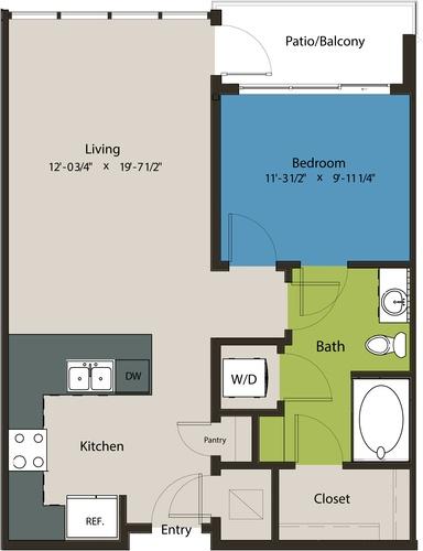 730 sq. ft. A8N floor plan