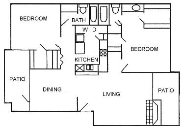 1,092 sq. ft. Resid floor plan