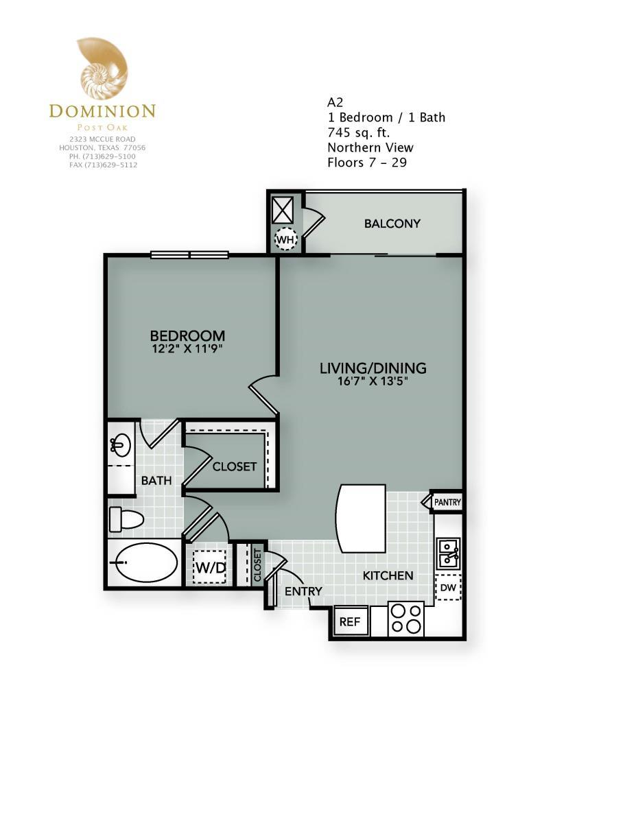 745 sq. ft. A2 floor plan