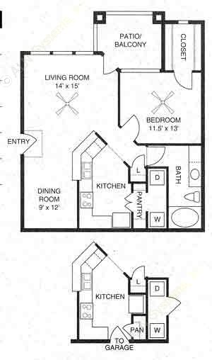 800 sq. ft. Prescott/A2 floor plan