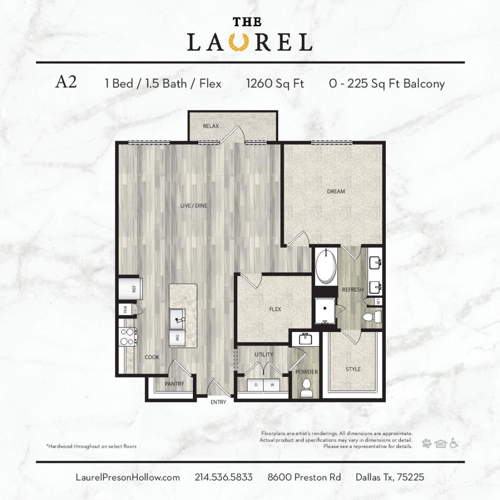 1,260 sq. ft. A2 floor plan