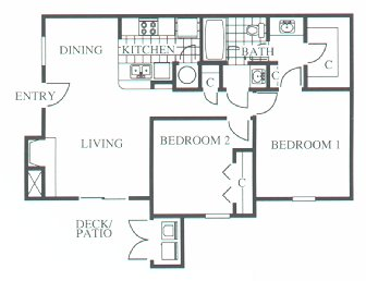 853 sq. ft. B1 floor plan