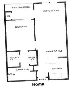 650 sq. ft. Roma floor plan
