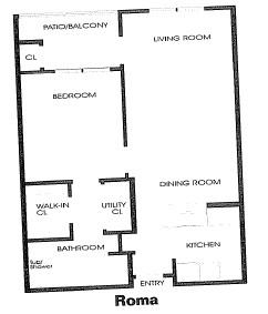 650 sq. ft. Roma floor plan