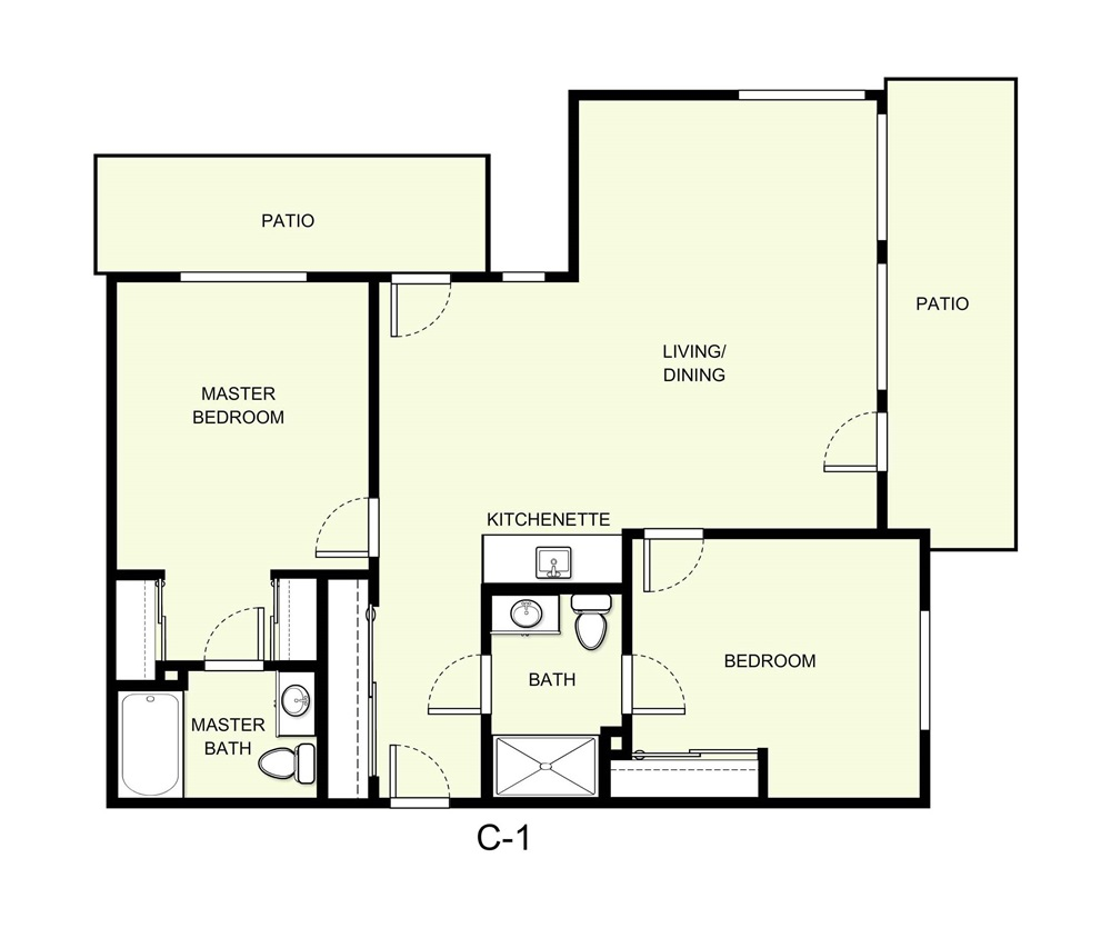 1,056 sq. ft. C1 floor plan