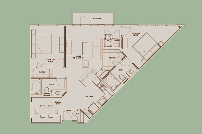 1,108 sq. ft. B1 floor plan