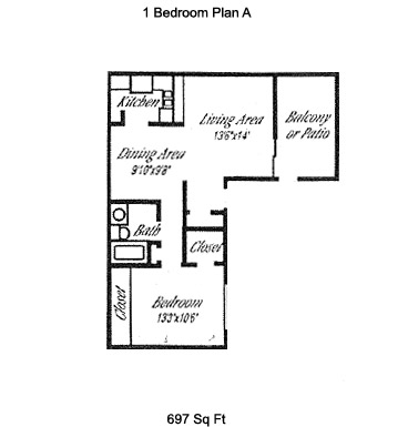 697 sq. ft. A floor plan