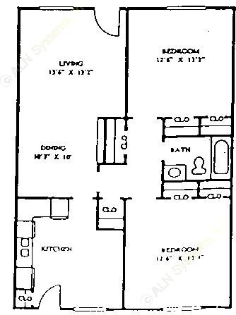 1,037 sq. ft. 60% floor plan