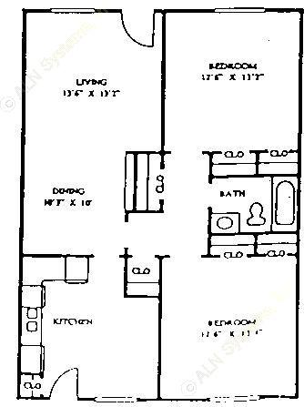1,037 sq. ft. 60% floor plan