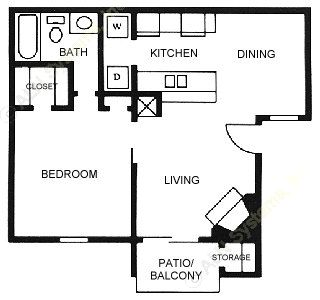 638 sq. ft. A4 floor plan