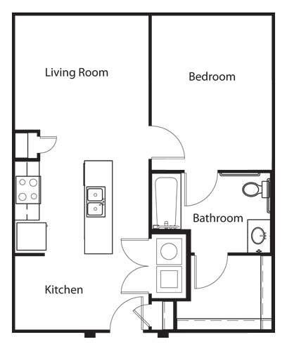 702 sq. ft. A3 HC floor plan