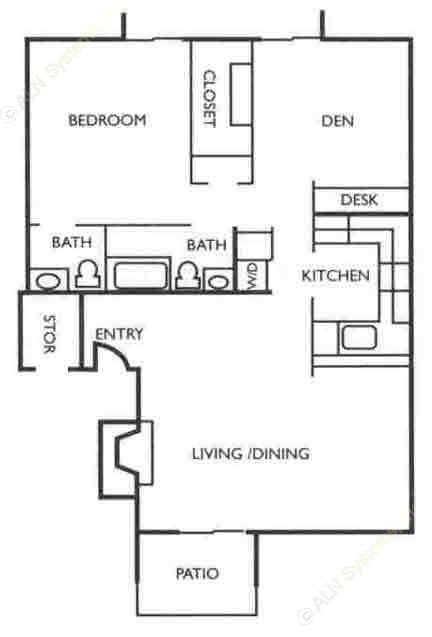 1,081 sq. ft. B1 floor plan