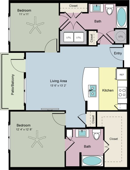 1,035 sq. ft. Share (B2A) floor plan