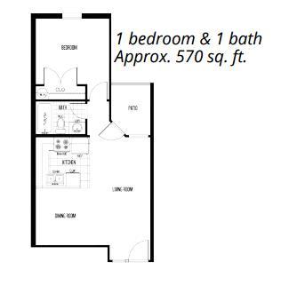 570 sq. ft. floor plan