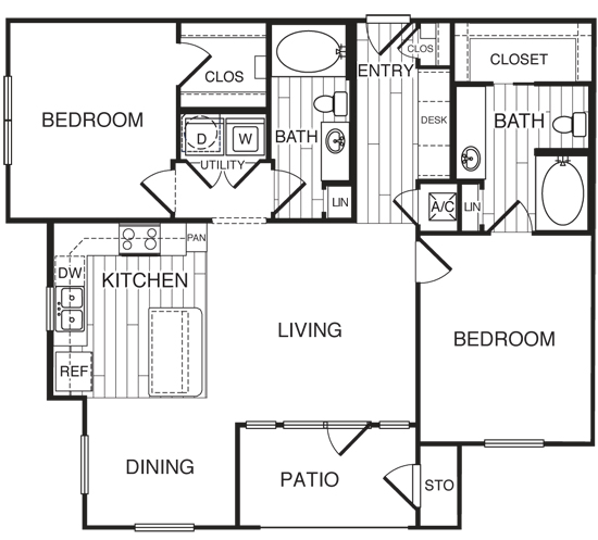 1,147 sq. ft. B2/Hunter floor plan