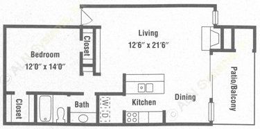818 sq. ft. A5 floor plan