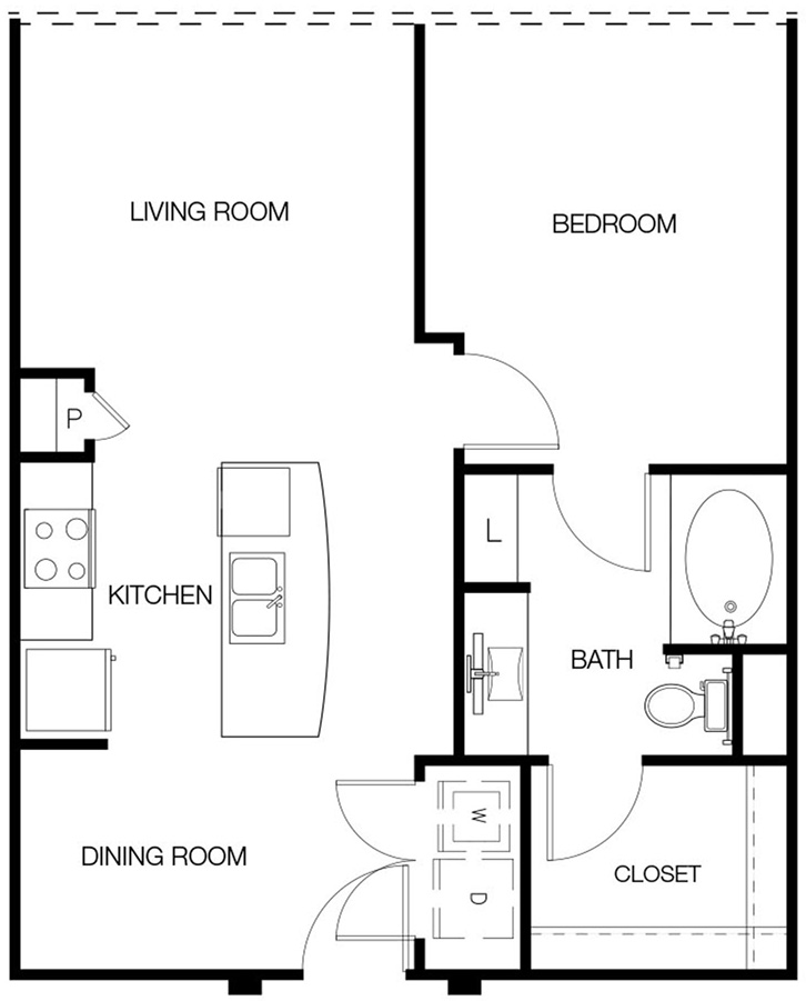 702 sq. ft. to 798 sq. ft. A1-C floor plan
