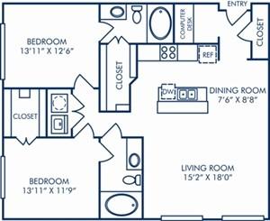 1,176 sq. ft. II/B3 floor plan