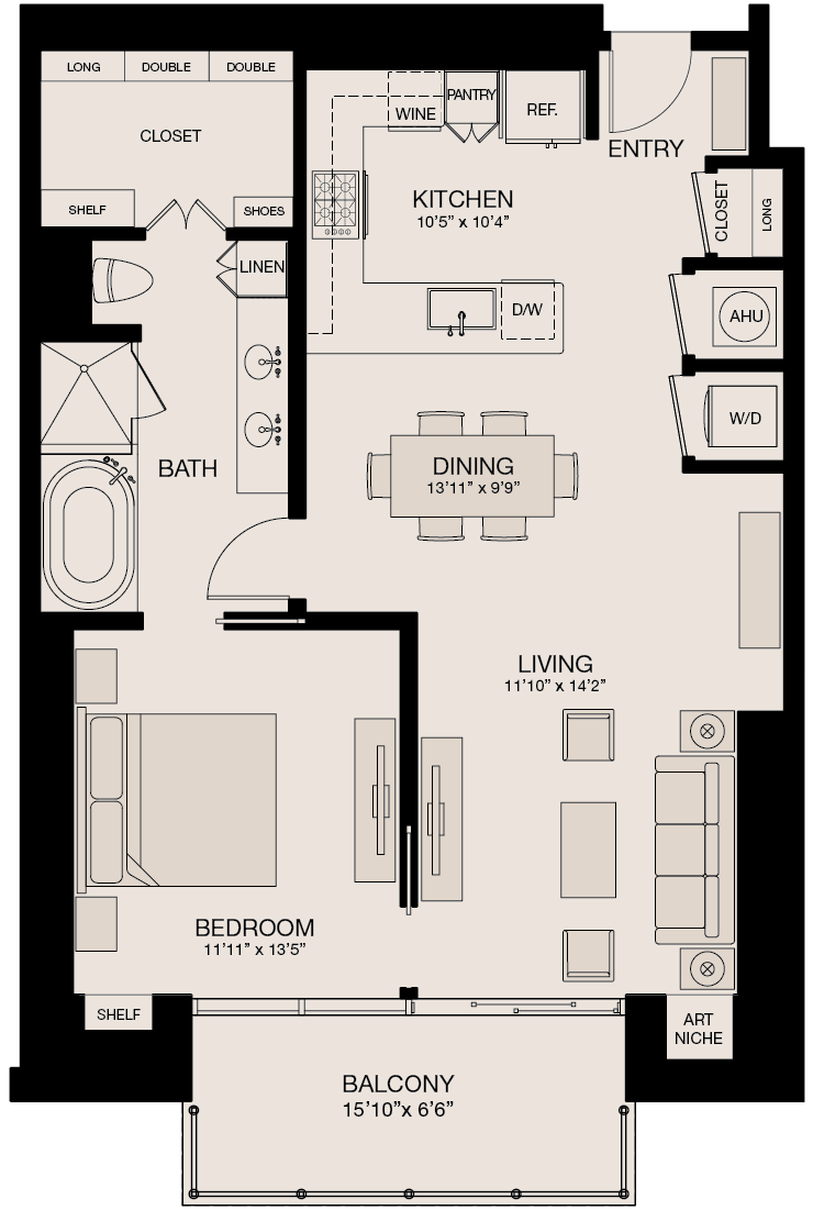 1,019 sq. ft. floor plan