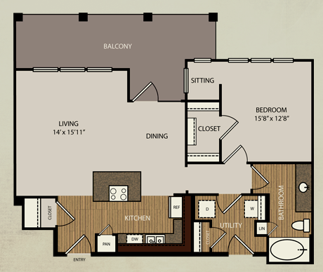 884 sq. ft. A7 floor plan