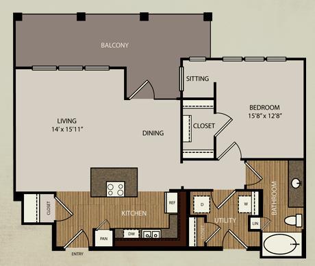 884 sq. ft. A7 floor plan