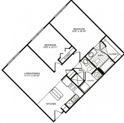 911 sq. ft. floor plan