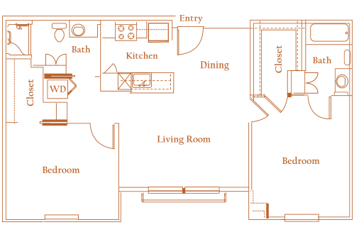 936 sq. ft. DOVER floor plan