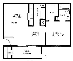 686 sq. ft. A3 floor plan