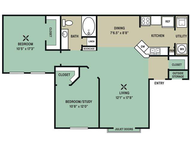 1,053 sq. ft. Sea Biscuit floor plan