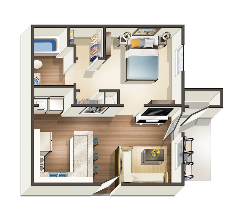 576 sq. ft. A floor plan