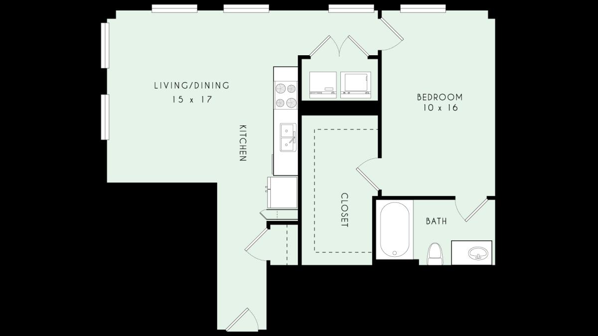 852 sq. ft. A14 80% floor plan