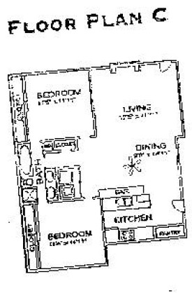 900 sq. ft. D2 floor plan