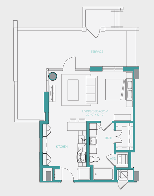 586 sq. ft. S1.6 floor plan